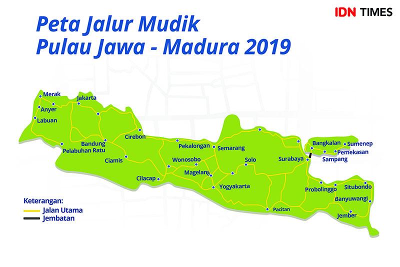 Peta Jalur Mudik Pulau Jawa - Madura 2019